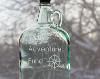 Adventure Fund Jar, Large Glass Jug with Handle and Lid, Light Green
