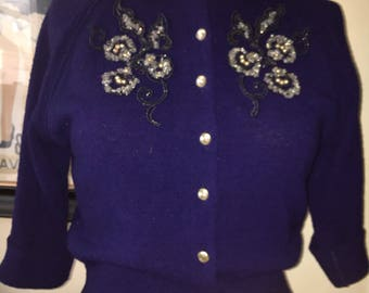 1950s vouloup indigo blue embellished boucle' knit.