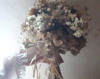 Rustic Bouquet Dried Arrangement Wedding Beige Brown Bridal