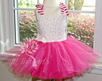 Girls Ice Cream Spinkles Tutu Dress- Birthday Tutu Dress- Tulle Dress- Birthday Tulle Dress- Toddler girls- Sprinkle-12-18m 2t 3t 4t 5 6 7 8