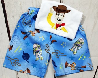 Boys Toy Story Woody Shirt- Baby Boys- Buzz Light Year- Toddler boys- Woody Birthday- Short Set- size 6m, 12m, 18m, 2t, 3t, 4t, 5t, 6