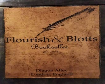 Flourish & Blotts Rustic Distressed Sign