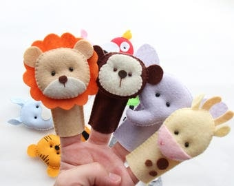 Safari Animal Finger Puppets Set - Jungle Animal Finger Puppets - Kids Felt Toys - Felt Finger Puppets For Children and Babies