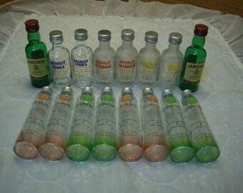 16 (6 Absolut & 8 Ciroc Vodka/2 Jameson Whiskey)50 ML Glass Mini Bottles/Empty