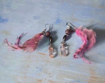 Pink Feather Dangle Earrings