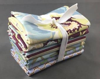 "HUGE SUMMER SALE Gypsy Caravan Fat Quarter Bundle by Amy Butler for Rowan Fabrics ~ 6 Blue & Maroon 18""x22"" PreCut Cotton Quilt Pieces"