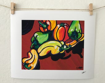 Dancing Bell Pepper #1 Fine Art Print, Cuisine Wall Art Decor, Vegetable Print, Vegetable Modern Print, Cuisine Home Decor, Food Print