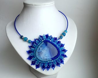 Agate Beadwork Necklace, Seed Bead Necklace, Gemstone necklace, Blue necklace, crystals necklace, flower necklace