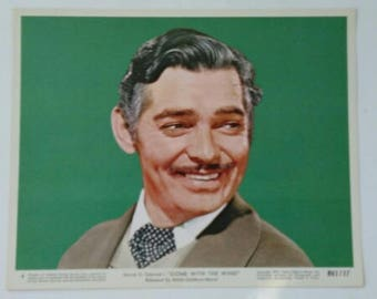 Vintage Authentic Gone With The Wind RHETT BUTLER Clark Gable Collectible 1961 Color Lobby Still MGM Movie Gwtw
