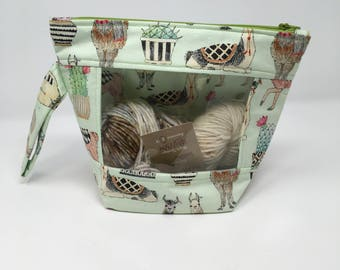 Knitting and Crochet Project Bag - Peekaboo - Llama alpaca cactus