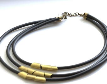 Geometric Necklace jewelry. Modern unique simple jewelry.  Rubber necklace. Brass necklace. Handmade necklas.