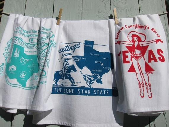 Gift Set of Three, Retro Inspired Texas Tea Towels