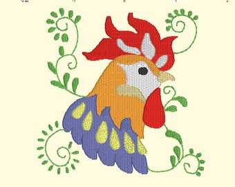 Rooster 2 Embroidery Design,Emboidery of Roosters,Colorful Rooster Embroidery Designs,Animal Embroidery,Kitchen Embroidery Designs