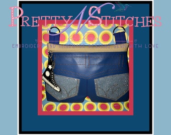Digital Download ITH Shorts Zipper bag  for 5X7, 6X10, 7X11 and 8X12 hoops also includes bonus Shoe zipper pull
