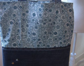 Cute Tote bag handmade upcycled denim and cotton