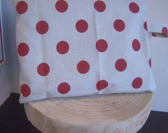 Clutch bag beige Burgundy polka dots