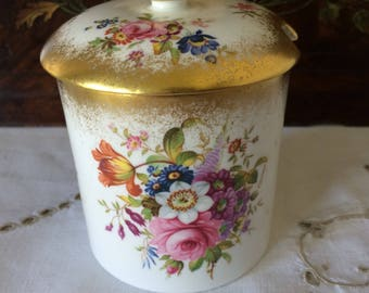 Hammersley Fine Bone China Jam/Jelly/Honey/Preserve Pot.  Pretty Floral Design with Gold Accents and Finial. Made in England.