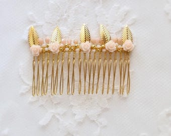 MODEL SULLY - Comb hair - gold - leaf - nude-rose-wedding