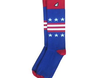 "American Flag / USA Stars & Stripes Men's Dress / Casual Socks: Red White Blue ""Statesman"" Christmas Holiday Gift Stocking Stuffer"