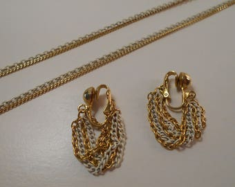 Vintage Chain Necklace & Earrings, Gold and White Chain Necklace and Earrings, 2 Strand Necklace and Clip Earrings