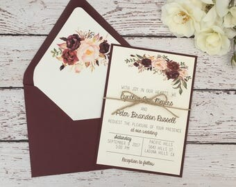 Rustic wedding invitation, boho chic invitation, burgundy wedding invitation, marsala wedding invitation, rustic boho invitation