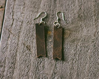 Brown Leather Notched Rectangle Earrings