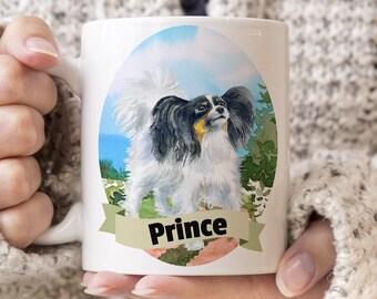 Papillon Custom Dog Mug - Get your dogs name on a mug - Dog Breed Mug - Great gift for dog owner - Papillon mug