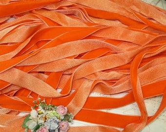 "7/8"" OMBRE ORANGE TANGERINE Vintage Swiss Velvet Ribbon trim Boho Choker Necklace Festival Hippie Halloween Millinery Hat Fabric Collage"