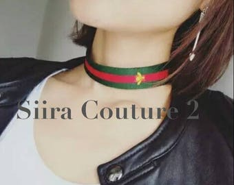 GUCCI Inspired Bee Red Green Stripe Designer Choker Necklace
