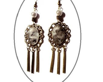 Bronze earrings, black and white marbled gray cabochons