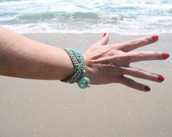 Green wrap bracelet on light green cord,Beadwork bracelet
