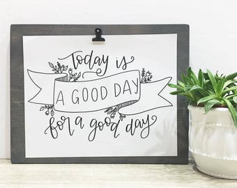 The Everyday Set - 8 Hand Lettered Prints with Wood Display Board