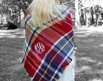 Monogrammed Blanket Scarf-Brown-Green-Monogram Scarf-Fall Scarf-Fall Trend-Gift Idea for Teachers-Gift for a friend-Monogrammed Scarf-Gift
