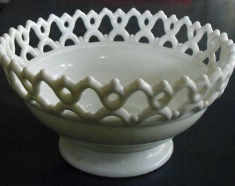 Vintage White Milk Glass Fancy Bowl Open Lacy Rim, Footed Pretty