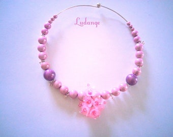 Necklace * Rosie * pink romantic, tender, beautiful flowers lucites with the heart of the bicone Crystal beads