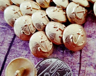 Vintage buttons - metal anchor buttons - nautical buttons gold - sewing supplies - metal buttons - gold buttons x 6