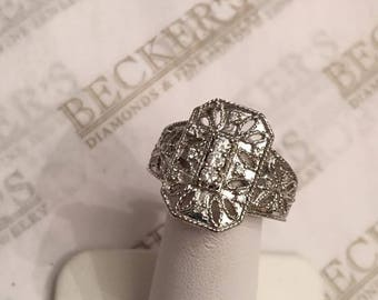 14k white gold 19 Diamond Filigree Octangular Shield Ring .38 tw JK-SI2-I1 size 9