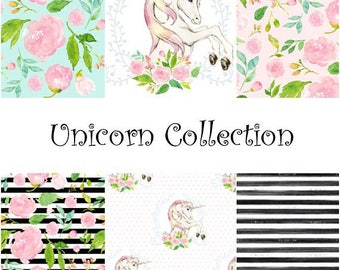 Unicorn Nursery Items / baby blanket, crib sheet, changing pad cover, baby bedding / unicorn love, rainbows, florals