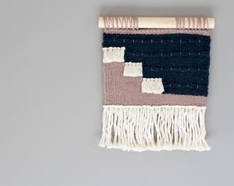 Woven Wall Hanging // Modern Tapestry // Indigo and Rose Granite Woven Wall Decor
