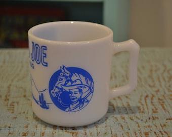 Vintage 1950's Blue Hazel Atlas Ranger Joe Child Size Mug