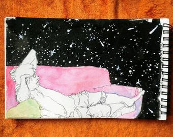Star gazing. Ink and watercolor original painting or print