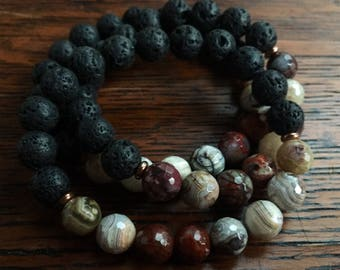 Lava Bead + Crazy Lace Agate | Essential Oil Diffuser | Spiritual Junkies | Stackable Mala Inspired | Yoga + Meditation | 1 bracelet