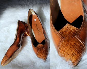 Vintage Eva Pumps // 1970's Evan Picone Warm Brown Leather High heels with Snakeskin at Toes and Heels //  Women's Size 9 Made In Spain
