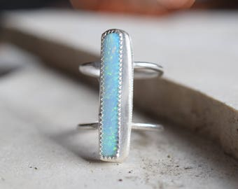Blue opal ring, silver opal ring, ring size 8