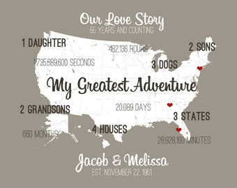 55 Year Wedding Anniversary Gifts for Wife Customized Anniversary Art Giclee Print Our Journey Gifts for Anniversary Special Gift