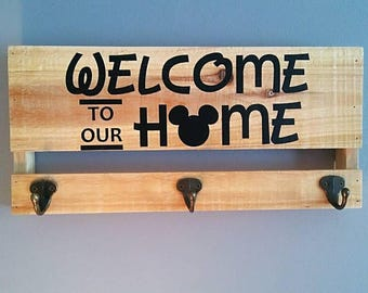 Welcome to our Home wood key hook plaque