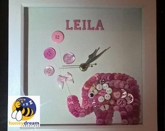 Christening Gift, Baby Girl Gift, Elephant Clock, Button art, Godchild gift, Keepsake Baby Gift, Elephant Nursery