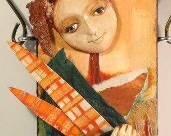 Mixed Media Art Doll - Spirit Doll - Abstract Collage  Doll - Assemblage Doll -  BOUNTY