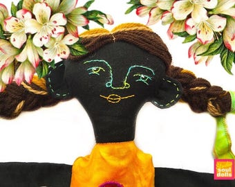 Hand made black Pop dress up doll-rag doll-for girls-doll clothes-long hair-embroidery-birthday gift toys