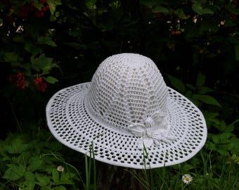 Womens Hat , Crochet Summer Hat ,  Womens Sun Hat , Wedding Hat , Crochet Hat with Brim, Floppy Beach Hat